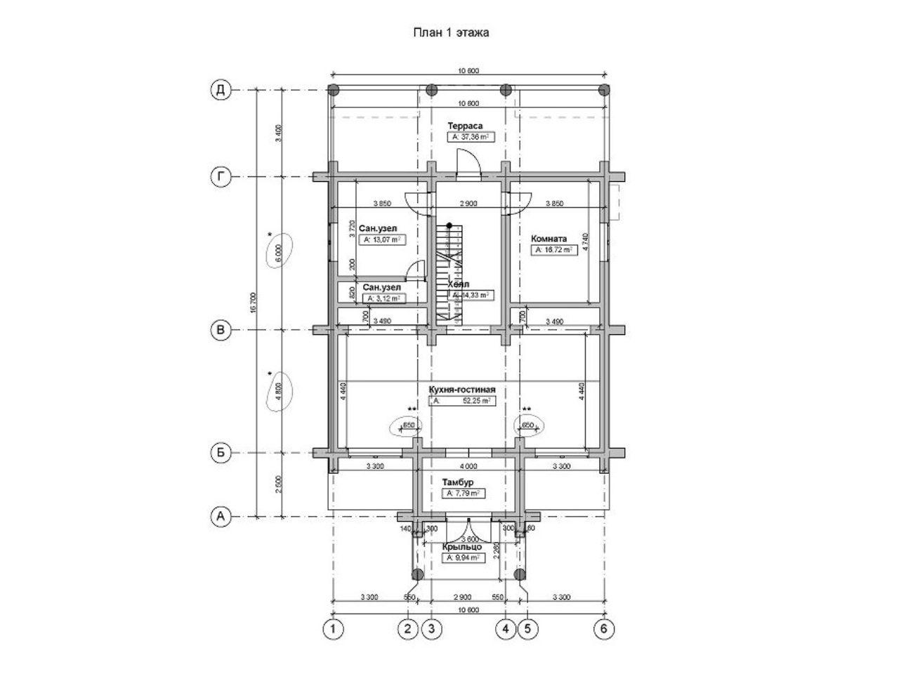 планировка рубленого дома