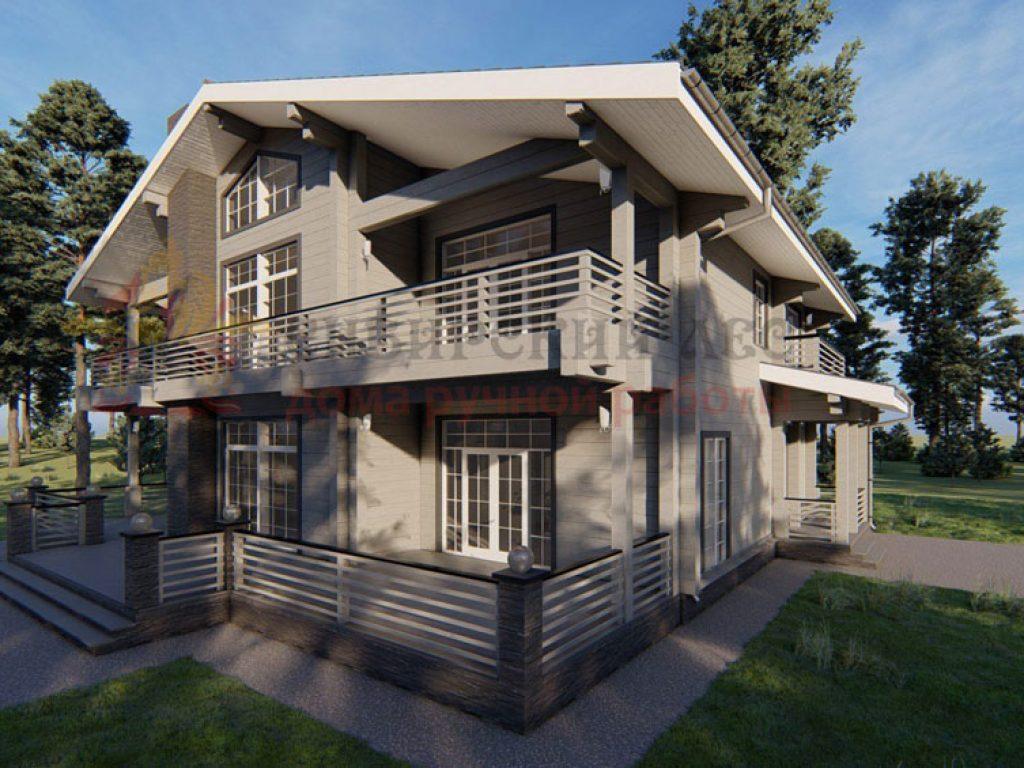 визуализация дома проект Лес и река